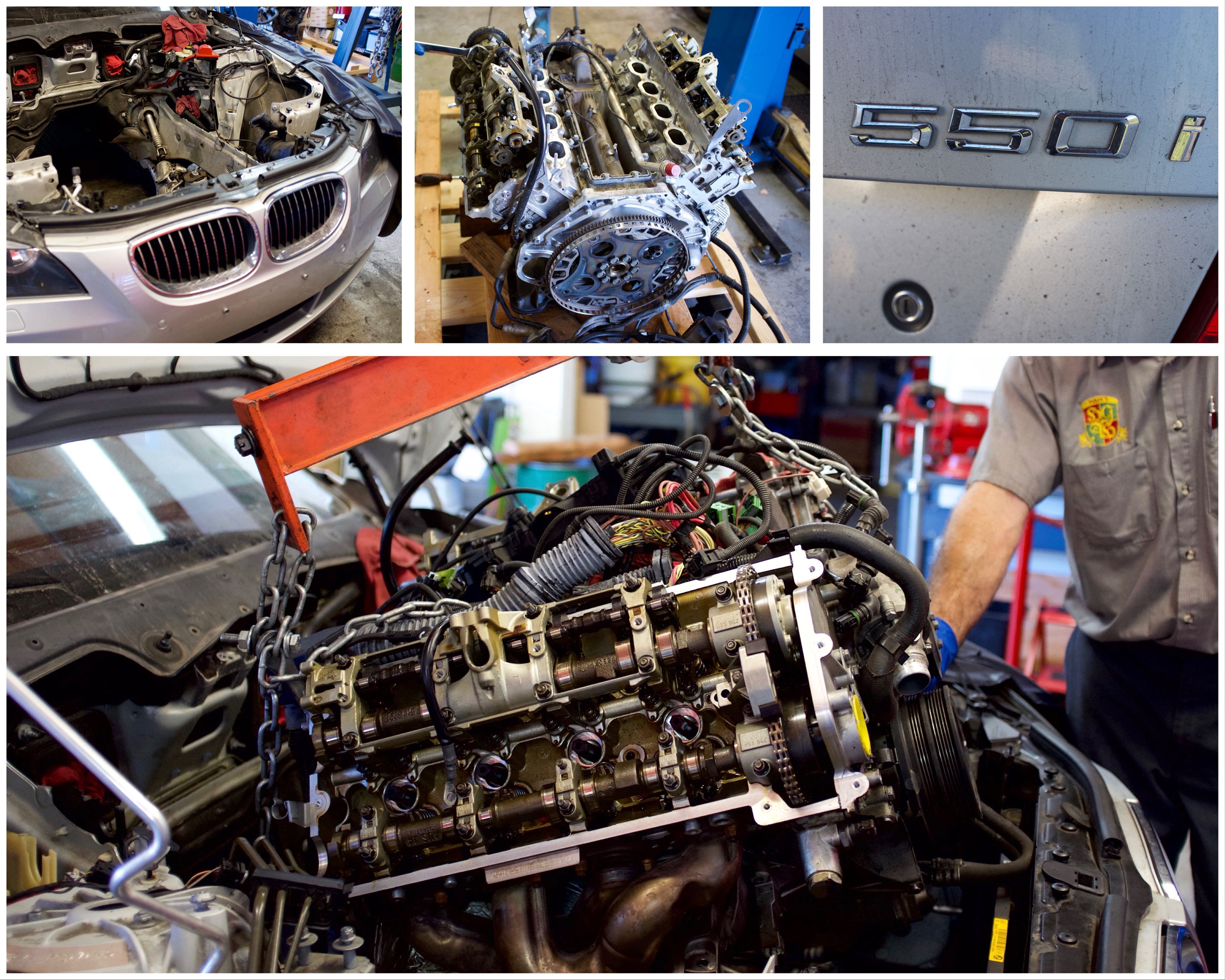 Removal of BMW engine at Haik's German Autohaus