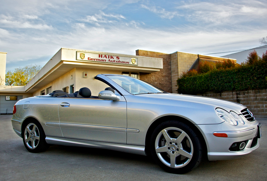 View of Mercedes convertible in front of Haik's German Autohaus Santa Barbara